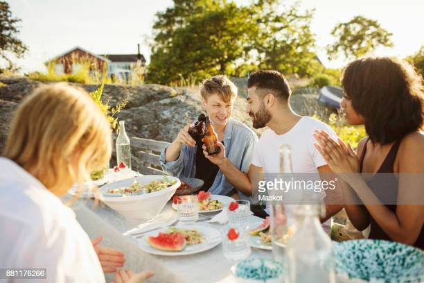 men toasting beer bottles while sitting with friends at picnic table - summer solstice stock pictures, royalty-free photos & images