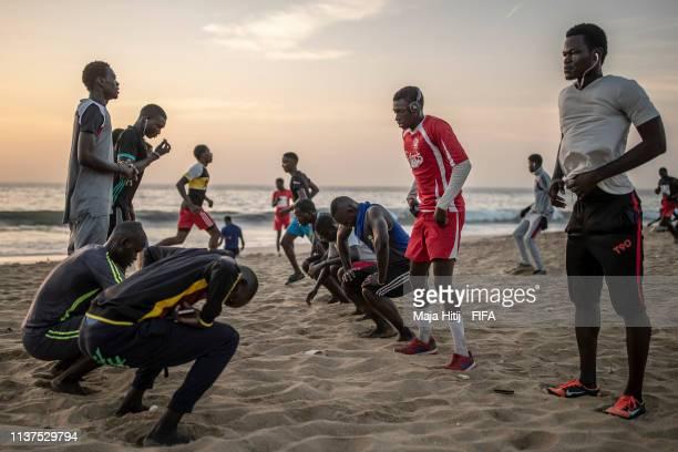 Men train near the beach on January 16 2019 in Dakar Senegal