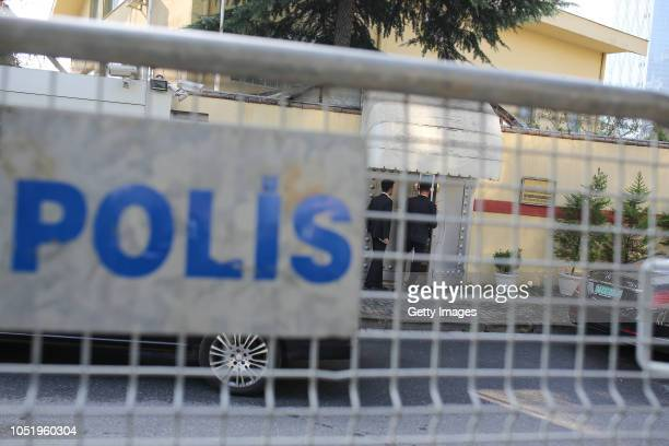 Men wait in front of Saudi Arabia's consulate on October 12 2018 in Istanbul Turkey Fears are growing over the fate of missing journalist Jamal...