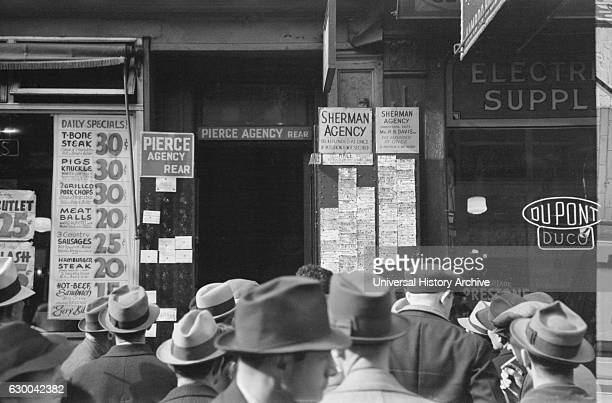 Men Waiting outside Employment Agency Sixth Avenue New York City New York USA Arthur Rothstein for Farm Security Administration December 1937