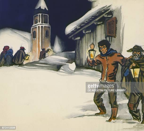 Men walking in the snow holding lanterns illustration for The star money fairy tale by the Grimm brothers Jacob and Wilhelm drawing