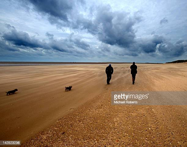 men walking on beach - king's lynn stock pictures, royalty-free photos & images