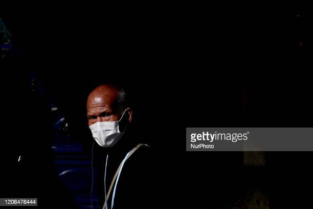 A men wearing a mask is pictured in Lisbon Portugal on March 10 2020 The epidemiological situation in Portugal continues to worsen and according to...