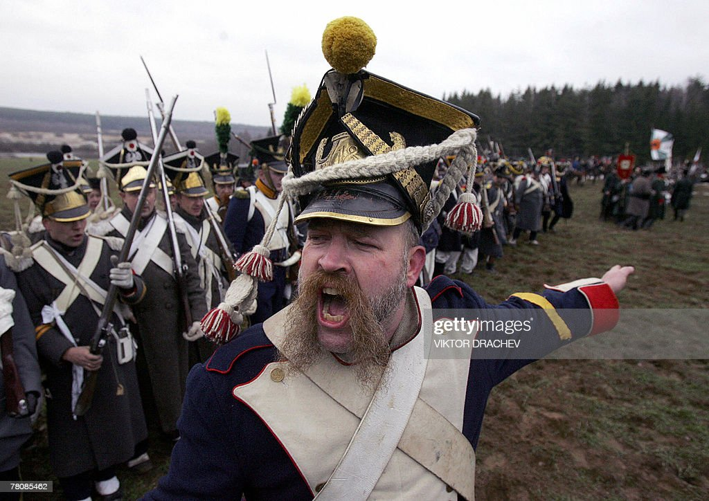 Men wearing the historic uniform of Imperial Russian Army shouts