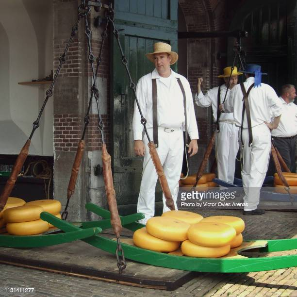 men weighing cheese at cheese market in alkmaar's main square in the netherlands - victor ovies stock pictures, royalty-free photos & images