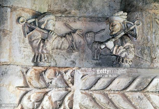 Men with crossbows stone basrelief of Chateau du Boistissandeau Le Herbiers Pays de la Loire France 16th17th century
