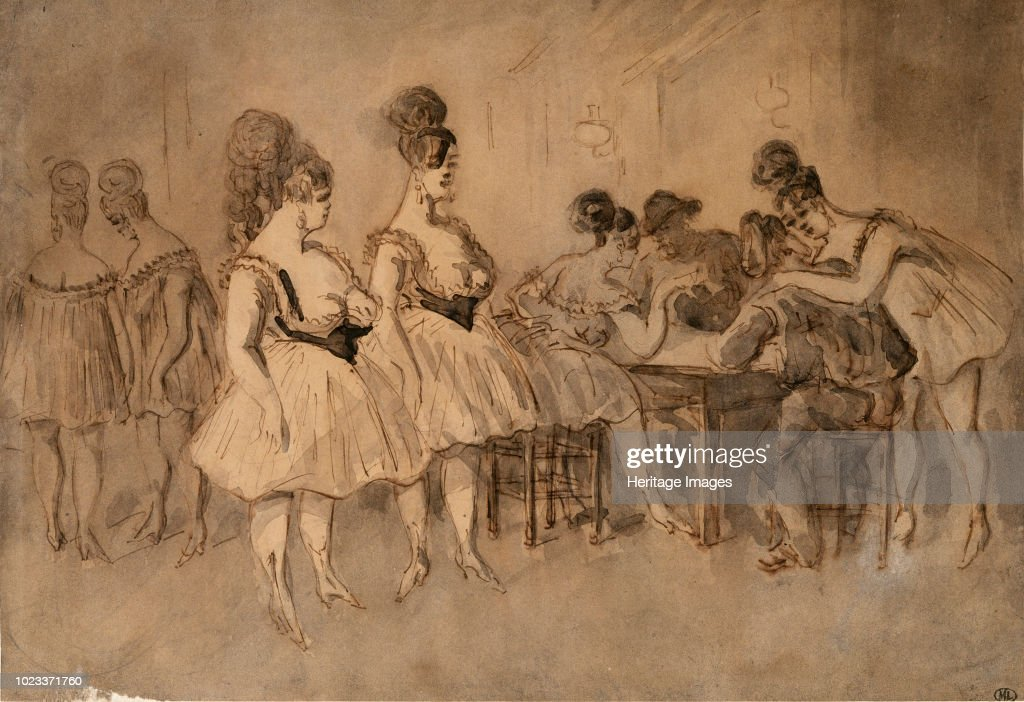 Men With Scantily Dressed Women Sitting At The Table : News Photo