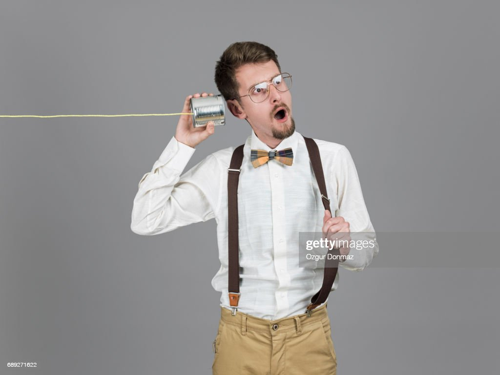 Men With Tin Can Phone : Stock Photo