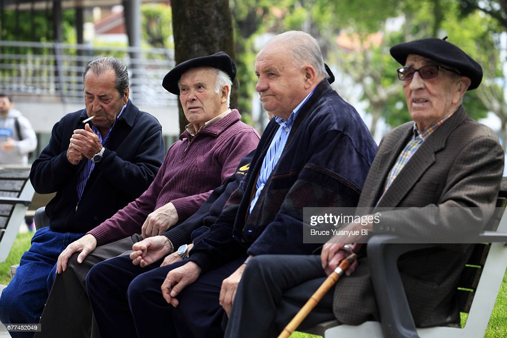 c2bfb28290344 Men With Traditional Basque Beret Stock Photo - Getty Images
