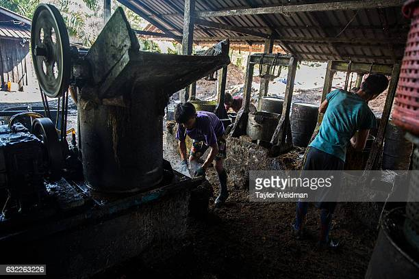 Men work in Asia World's palm oil mill on November 11 2016 in Bank Mae Village Myanmar Jobs in the mill are very hard work but also offer more...