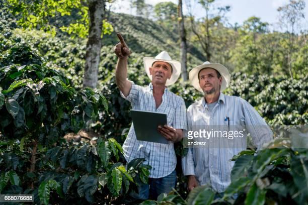 Hommes travaillant dans une ferme de café