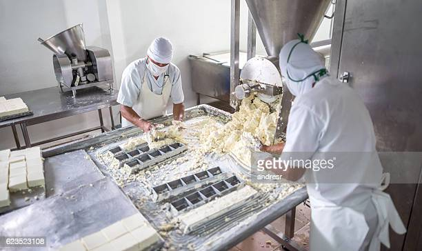 Men working at a dairy factory