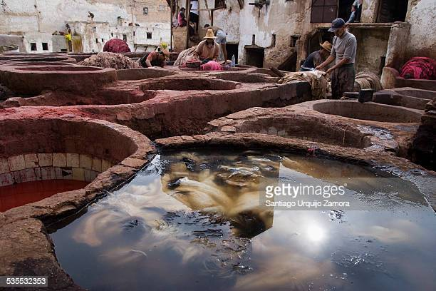 Men working at the traditional old tannery of Fez, Medina of Fas-el-Bali, Fes, Fès-Boulemane, Morocco, Africa.