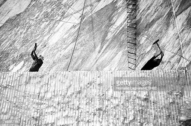 Men working in a marble quarry Versilia Tuscany 1986