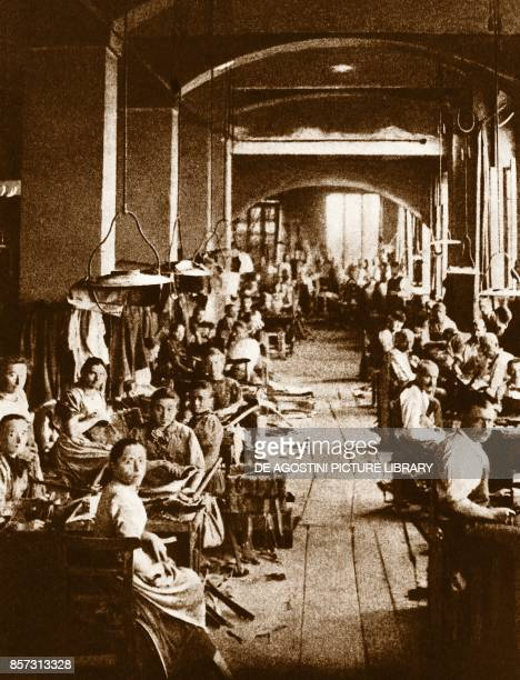 Men working in a rope factory in Turin Italy 19th century
