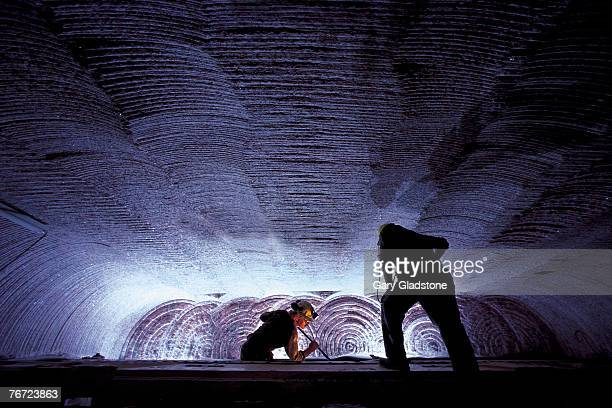 men working in an underground potash mine - potash stock pictures, royalty-free photos & images