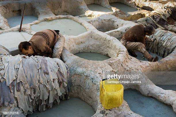 Men working in the stone vessels arranged like honeycombs, dying hides in the tannery of Medina of Fez-el-Bali, Morocco. This is the oldest leather...