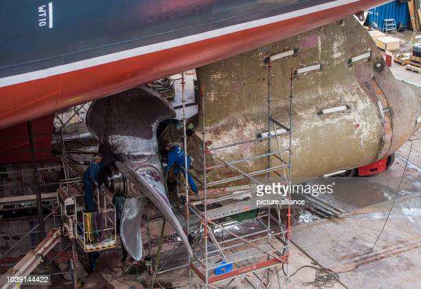 Men working on the propeller of 'Queen Mary 2' in the dry dock of Blohm + Voss in Hamburg, Germany, 14 June 2016. After modernisation works in the...