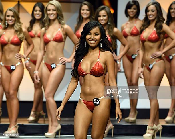 Mena Kithen of Phuket Thailand competes in the 20th annual Hooters International Swimsuit Pageant at The Pearl concert theater at Palms Casino Resort...