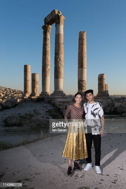 Mena Massoud and Naomi Scott attend photocall at the Citadel as part of the Aladdin Magic Carpet World Tour on May 13 2019 in Amman Jordan