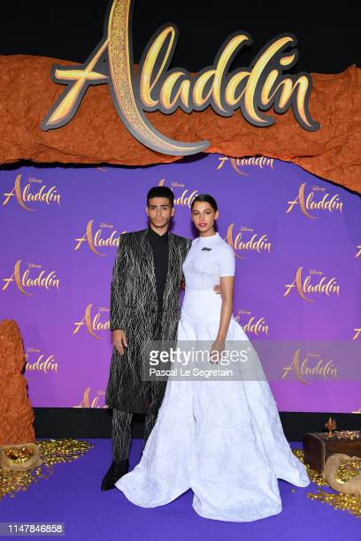 Mena Massoud and Naomi Scott attend the Aladdin gala screening at Le Grand Rex on May 08 2019 in Paris France