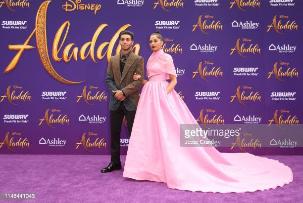 """Mena Massoud and Naomi Scott attend the World Premiere of Disney's """"Aladdin"""" at the El Capitan Theater in Hollywood CA on May 21 in the culmination..."""