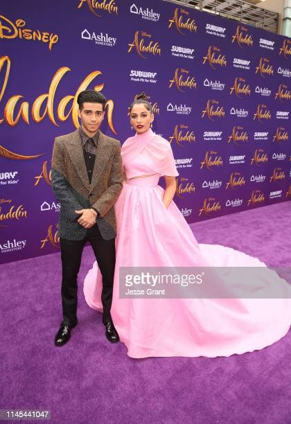 "Mena Massoud and Naomi Scott attend the World Premiere of Disney's ""Aladdin"" at the El Capitan Theater in Hollywood CA on May 21 in the culmination..."