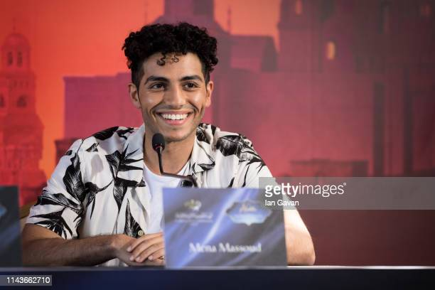 Mena Massoud participates in a press conference sponsored by the Royal Film Commission Jordan as part of the Aladdin Magic Carpet World Tour on May...