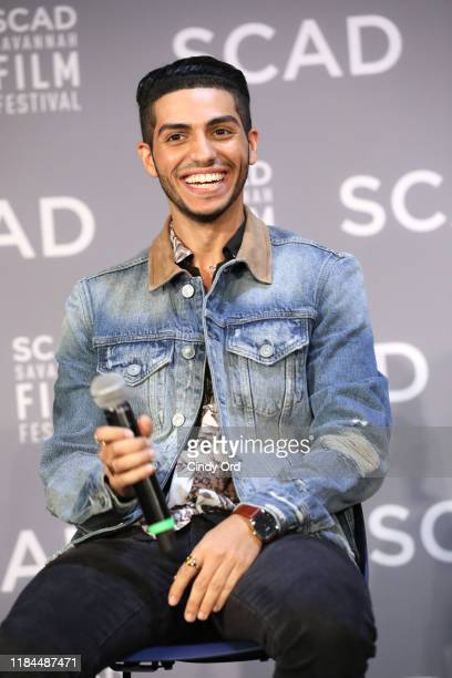 Mena Massoud speaks onstage during the Breakout Awards panel at the 22nd SCAD Savannah Film Festival on October 30, 2019 at Gutstein Gallery in...