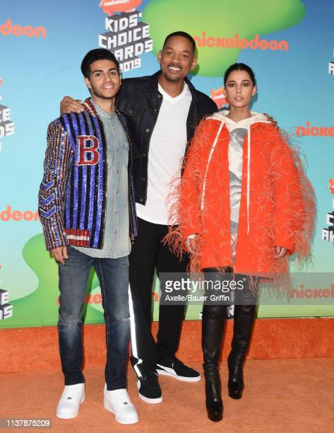 Mena Massoud Will Smith and Naomi Scott attend Nickelodeon's 2019 Kids' Choice Awards at Galen Center on March 23 2019 in Los Angeles California
