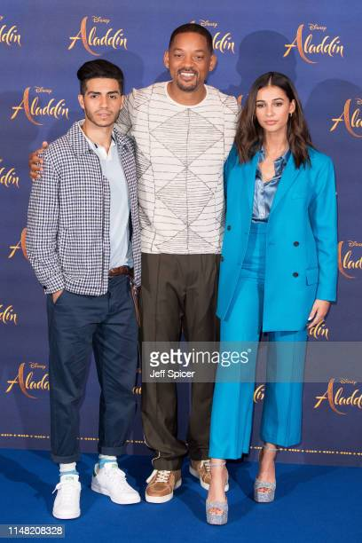 """Mena Massoud, Will Smith and Naomi Scott attend the """"Aladdin"""" press conference at Rosewood Hotel on May 10, 2019 in London, England."""
