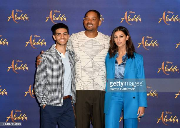 Mena Massoud Will Smith and Naomi Scott attend the photocall to celebrate release of Disney's Aladdin at The Rosewood Hotel on May 10 2019 in London...