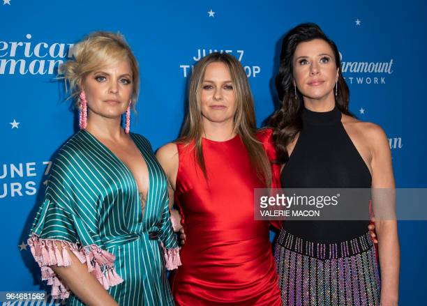 Mena Suvari Alicia Silverstone and Jennifer Bartels attend American Woman Premiere Party at Chateau Marmont on May 31 in Los Angeles California