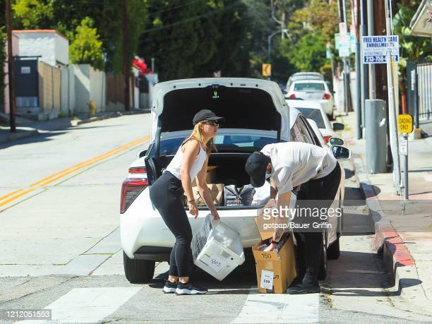 Mena Suvari and Michael Hope are seen on May 06 2020 in Los Angeles California