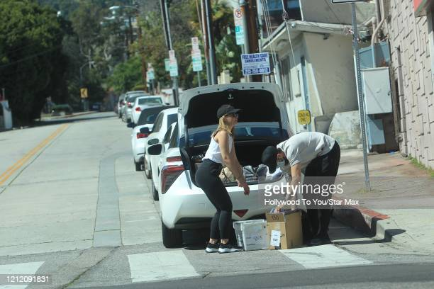 Mena Suvari and Michael Hope are seen on May 6 2020 in Los Angeles CA