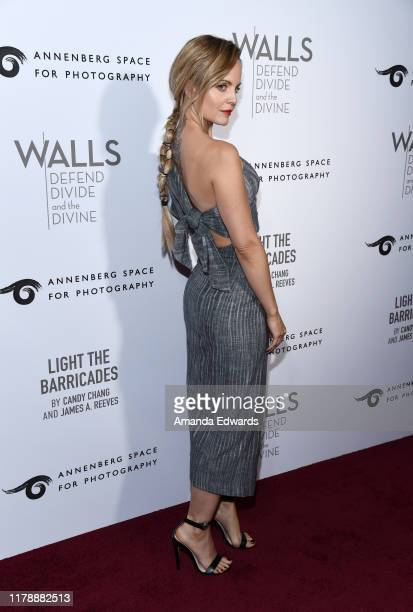 Mena Suvari arrives at the Annenberg Space For Photography's W|ALL's Defend Divide And The Divine Exhibit Opening at the Annenberg Space For...