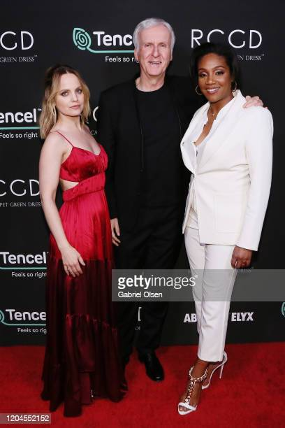 Mena Suvari Director James Cameron and Tiffany Haddish attend Red Carpet Green Dress at the Private Residence of Jonas Tahlin CEO of Absolut Elyx on...