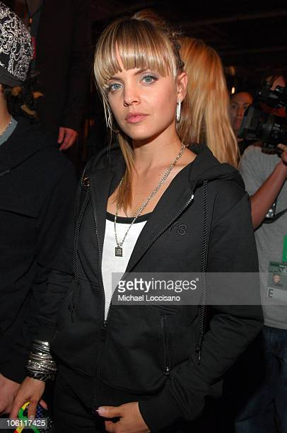 Mena Suvari during Olympus Fashion Week Spring 2007 Y3 Front Row at Pier 40 in New York City New York United States