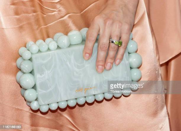 Mena Suvari fashion detail attends the Last Chance for Animals' 35th anniversary gala at The Beverly Hilton Hotel on October 19 2019 in Beverly Hills...