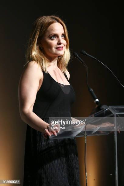 Mena Suvari speaks onstage during the 15th Annual Global Green Pre Oscar Party at NeueHouse Hollywood on February 28 2018 in Los Angeles California
