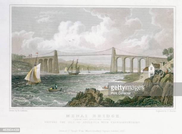 'Menai Bridge ' 1830 Thomas Telford's suspension bridge over the Menai Straits was built in 18201826 It was built to carry the London/Holyhead road...