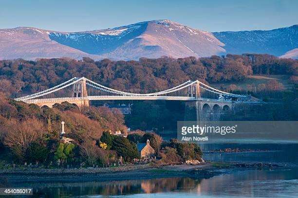 menai bridge and menai straits, anglesey, wales - menai straits stock pictures, royalty-free photos & images