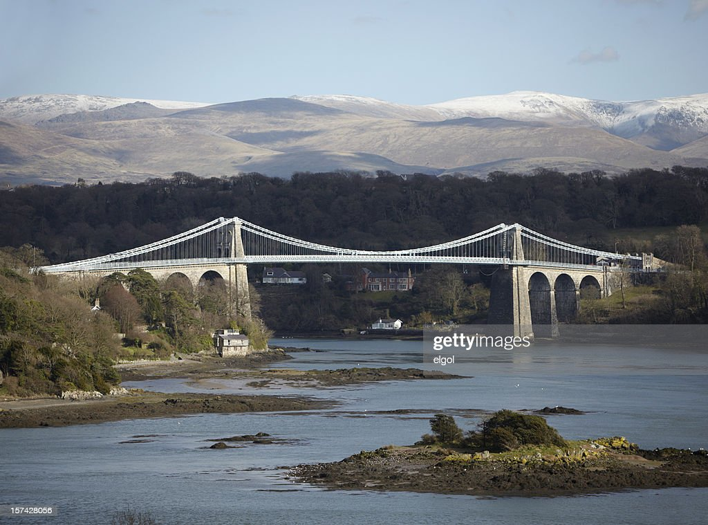 Menai Bridge, Anglesey, with Snowdonia, North Wales : Stock Photo