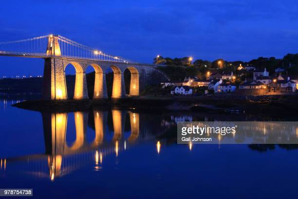 menai bridge - menai bridge stock photos and pictures