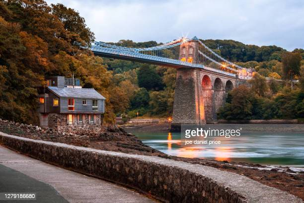 menai suspension bridge, anglesey, wales - famous place stock pictures, royalty-free photos & images