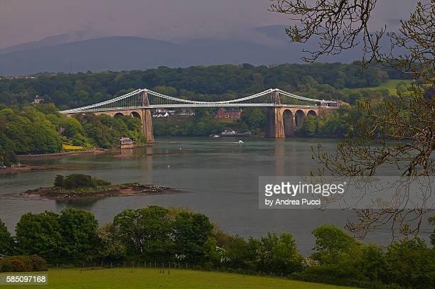 menai suspension bridge, anglesey, wales, united kingdom - menai straits stock pictures, royalty-free photos & images