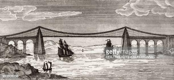 Menai suspension bridge between Anglesey and Wales United Kingdom engraving from L'album giornale letterario e di belle arti Saturday January 17 Year...
