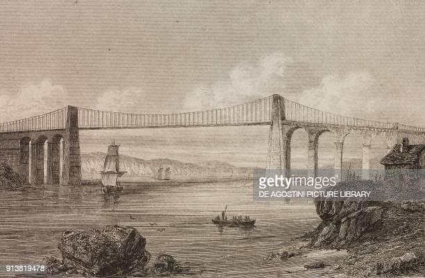 Menai Suspension Bridge England United Kingdom engraving by Lemaitre from Angleterre Ecosse et Irlande Volume IV by Leon Galibert and Clement Pelle...