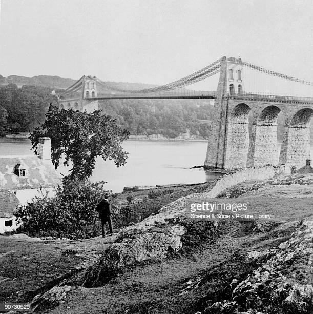 Menai suspension bridge, Menai Strait, Wales, c late 19th Century. Photograph by Bedford. Menai suspension bridge was built by Thomas Telford and...