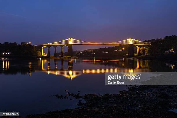 menai suspension bridge - menai straits stock pictures, royalty-free photos & images